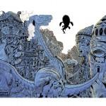 illustration de ville futuriste pour un projet de livre illustré