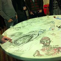 Les étudiants du cesan décorent une table de l'hôtel Mercure d'Angoulême